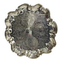 "Serving Tray 14"" Diameter Silver Plate Elevated on Four Feet"