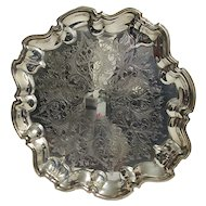 """Serving Tray 14"""" Diameter Silver Plate Elevated on Four Feet"""
