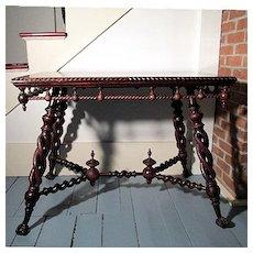 Antiquie Victorian Center Table Merklen Bros. of New York