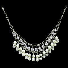 Necklace  Rhinestone and Pearl Choker Valentines Day Gift