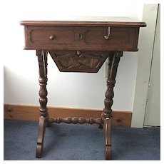 Antique Furniture Victorian Work Table or Sewing Stand  in Chestnut Inlay on Top