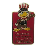 Coca Cola Sponsor Pin  Featuring Sam the Eagle Mascot  Designed  for 1984 Summer Olympics