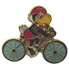 1984 Cycling Summer Olympic Pin LA Games Green Bicycle Wheels
