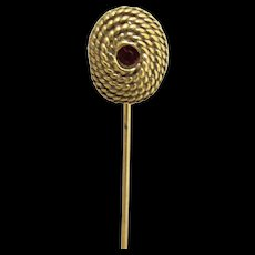 SOLD   SEE many others for SALE     Stickpin Gold Gilt Garnet Strass Inset in Rope Turned Head