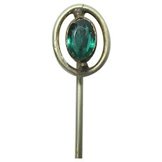 "Stickpin 2 1/2"" Stick Pin Large Emerald Color Strass Head"