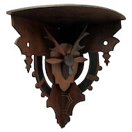 Antique Corner Shelf Hand Carved Stag Or Deer Head Damage Free Wall Shelf