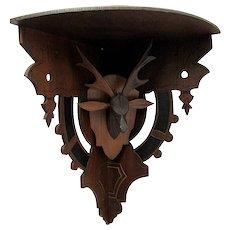 Antique Corner Shelf Hand Carved Stag Or Deer Head Damage Free Wall Shelf