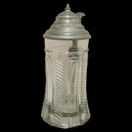 Beer Stein Antique Molded Clear Glass