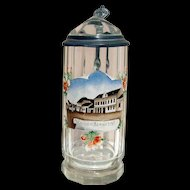 Beer Stein Antique Glass Hand Painted