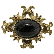 Large Simulated Onyx Center Stone Pin or Brooch