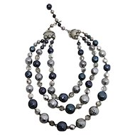 Necklace Triple Strand of Crystals, Rhinestone, Blue and Gray Beads