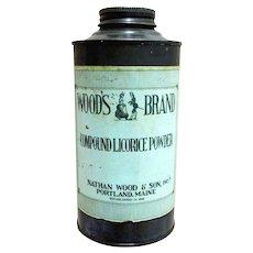 Woods Brand Licorice Powder Advertising Tin from Drugstore or Pharmacy