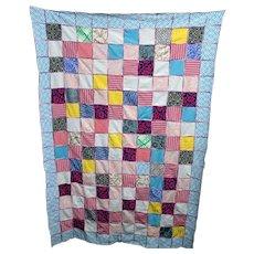 Quilt Random Block Design  Hand Stitched  Crazy Quilt