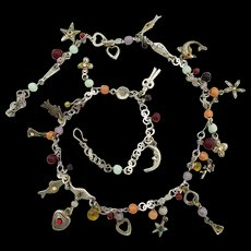 """Necklace 27"""" with Charms Whimsical Fish and Nature Themed"""
