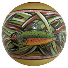 Christmas Ornament Glass Ball with Hand Painted Rainbow Trout