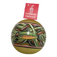 Christmas Ornament Hand Paint Trout on Glass Ball