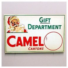 Original Camel Cigarettes Christmas Store Display Advertising Sign  MINT