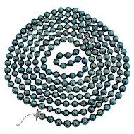 "Christmas Garland Mercury Glass BLUE Beads 108"" Tree Decoration Chain"