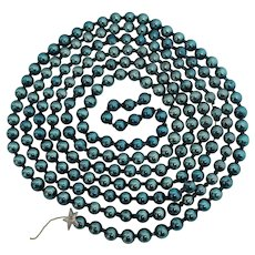 "Christmas Garland Mercury Glass BLUE Beads 108"" Tree Decoration Chain"