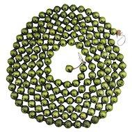 "Christmas Tree Garland Beads Green Mercury Glass  88"" Long"