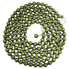 "Christmas Tree Garland Beads Green Mercury Glass  88"" Long"