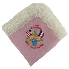 Silk Hankie French Souvenir  100 year old Hanky