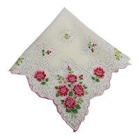 Hankie Printed Roses Hanky Cotton Handkerchief