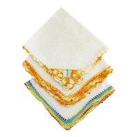 Linen and Crochet Hankies or   Hanky