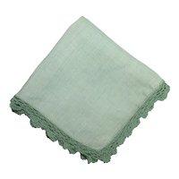 Hankie Green Linen Hanky Crochet Border Handkerchief