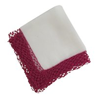 White Linen Hanky Wine Color Hand Crochet Border on Hankie  or Handkerchief