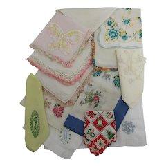 Hankie, Hanky, and Handkerchiefs  Assortment of 14