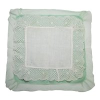 Hankie, pair of Hanky Two Handkerchiefs  White and Green Linen