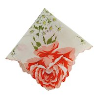 Hanky Linen with Colorful Printed Flowers on Hankie