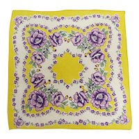 Printed Hanky with Pansy Flowers