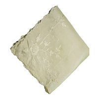 Hanky Fine Linen Champagne Color Hankie with Intricate Floral Design