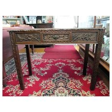 Antique Carved Oak Hall Table