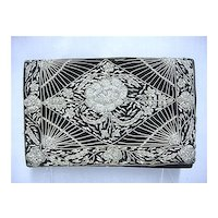 Hand Bag or Purse Black Velvet Clutch  Gold and Silver Thread Design
