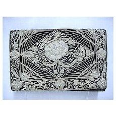 Hand Bag or Purse Black Velvet Clutch  Gold and Silver Thread Design