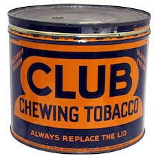 SOLD   See other tins ON SALE    Advertising Tobacco Tin For Club Chewing Tobacco