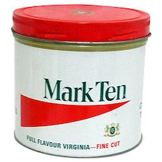 Advertising Tobacco Tin For Mark Ten Virginia Cigarette Tobacco