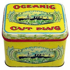 Advertising Tobacco Tin For Oceanic Cut Plug