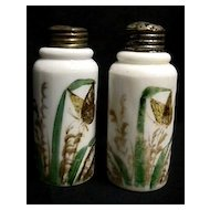 Antique American Glass Salt and Pepper Set Hand Painted Shakers