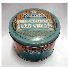 Rexall Theatrical Makeup Cold Cream Advertising Tin
