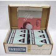 Fasteeth Dentists Samples Box of 12 Mint Unopened Advertising Tins