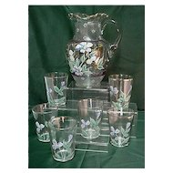 Pitcher Set with 6 Matching Glasses Lemonade or Water Set Antique Victorian American Glass