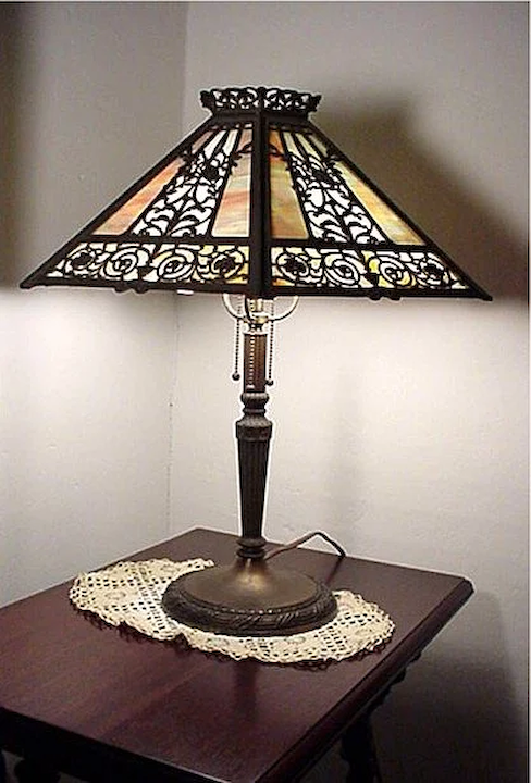 Table Lamp Filigree Overlay Panel Lamp : Drury House Antiques | Ruby Lane