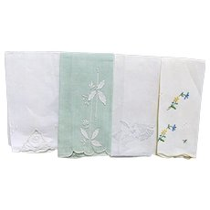 Set of  Four  Hand Embroidered Finger Towels