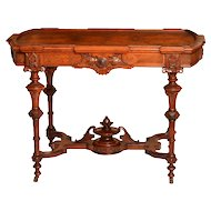 Inset Burled Walnut Renaissance Revival Victorian Library or Center Table