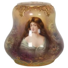 Royal Bonn Artist Signed Portrait Vase With Floral Chrysanthemum Pond Scene
