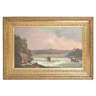 J Glen scenic Victorian oil painting in gilt frame dated 1890